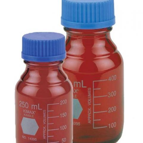 Photo of KIMBLE® 14399 KIMAX RAY-SORB® Amber GL-45 Media Storage Bottles with Polypropylene Cap