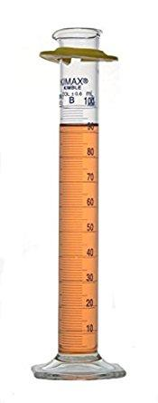 """Photo of Kimble 20025 KIMAX Class B Graduated Cylinder with Single Blue Metric Scale, """"To Deliver"""""""